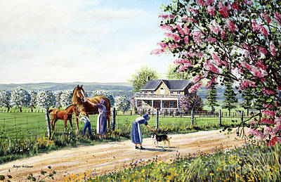 Horse And Buggy Painting - Welcome Home by Roger Witmer