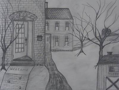 Primitive Drawing - Welcome Home by Shannon Crandall