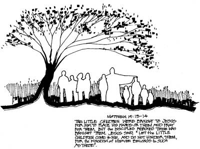 Christian Art . Devotional Art Drawing - Welcome The Children by Rich Brumfield