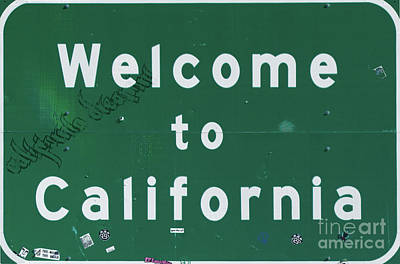 Road Sign Painting - Welcome To California by Mindy Sommers