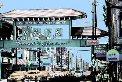 Art Print featuring the photograph Welcome To Chinatown Sign Blue by Marianne Dow
