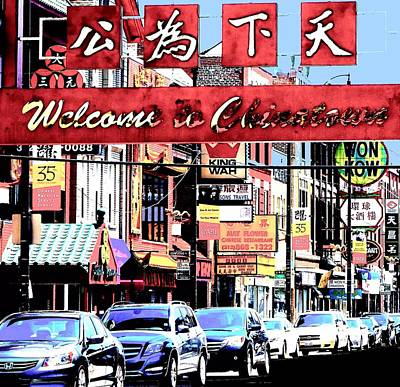 Art Print featuring the photograph Welcome To Chinatown Sign Red by Marianne Dow