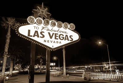 Print featuring the photograph Welcome To Fabulous Las Vegas - Neon Sign In Sepia by Gregory Ballos