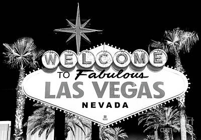 Wall Art - Photograph - Welcome To Las Vegas Black And White by John Rizzuto