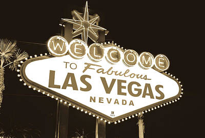 Print featuring the photograph Welcome To Las Vegas Neon Sign In Sepia - Nevada Usa by Gregory Ballos
