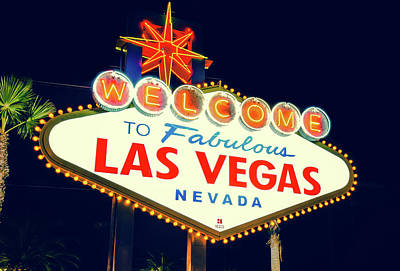 Las Vegas Photograph - Welcome To Las Vegas Neon Sign - Nevada Usa by Gregory Ballos