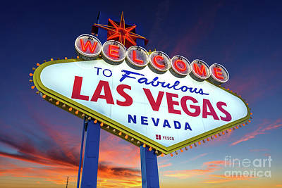Photograph - Welcome To Las Vegas Sign At Dawn Wide by Aloha Art