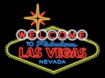 Digital Art - Welcome To Las Vegas Sign Digital Drawing Night by Ricky Barnard