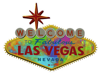 Abstract Skyline Digital Art Rights Managed Images - Welcome To Las Vegas Sign Digital Drawing Paint Royalty-Free Image by Ricky Barnard