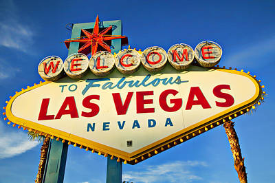 Colored Photograph - Welcome To Las Vegas Sign by Garry Gay