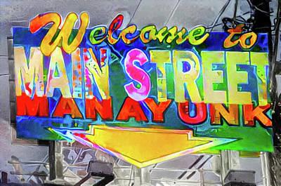Phillies Digital Art - Welcome To Main Street Manayunk - Philadelphia by Bill Cannon