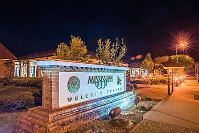 Photograph - Welcome To Mississippi Visitor Center Rest Area Sign At Night by Alex Grichenko