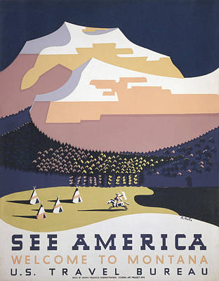 Welcome To Montana - See America Wpa Art Print by War Is Hell Store