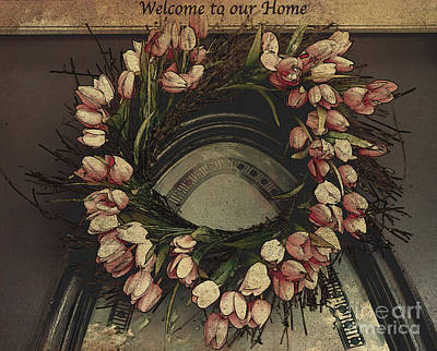 Photograph - Welcome To Our Home / Burgundy by Sherry Hallemeier