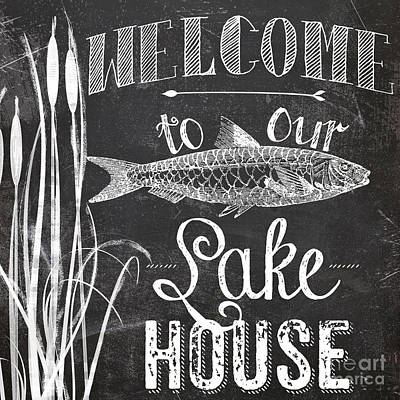 Welcome To Our Lake House Sign Art Print by Mindy Sommers