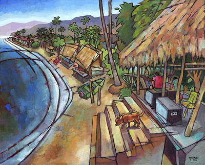 Palapas Wall Art - Painting - Welcome To Quimixto by Douglas Simonson