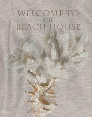 Coastal Quote Wall Art - Painting - Welcome To The Beach House by Brad Burns
