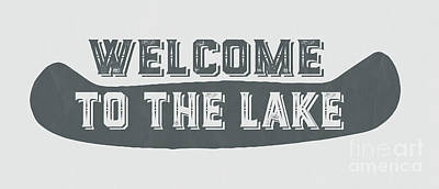 Folk Art Painting - Welcome To The Lake Sign by Edward Fielding