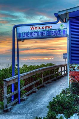 Photograph - Welcome To The Lake Worth Pier by Debra and Dave Vanderlaan