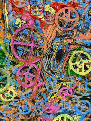 Painting - Welcome To The Machine Pink Orange by Tony Rubino