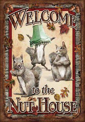 Squirrel Wall Art - Painting - Welcome To The Nut House by JQ Licensing