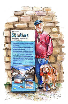 Old Tv Drawing - Welcome To Staithes On Old Jacks Boat by Miki De Goodaboom