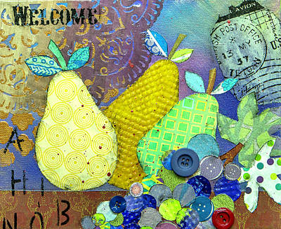 Grape Leaf Mixed Media - Welcome by Wendy Provins