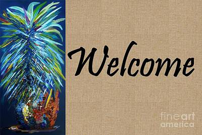 Pineapple Painting - Welcome With Pineapple by Eloise Schneider