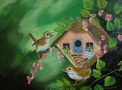Painting - Welcome Wrens by Debra Campbell