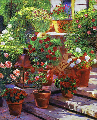 Terra Painting - Welcoming Flowers by David Lloyd Glover