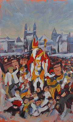 Painting - Welcoming Saint Nicolas In Maastricht by Nop Briex