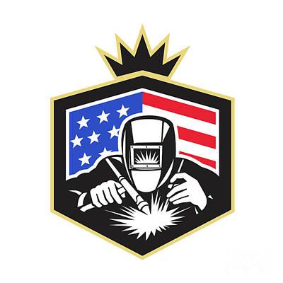 Arc Welder Digital Art - Welder Arc Welding Usa Flag Crest Retro by Aloysius Patrimonio