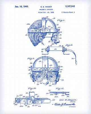 Painting - Welder's Goggles Patent Drawing by Gary Grayson