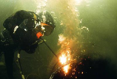Welding Underwater Art Print by Peter Scoones