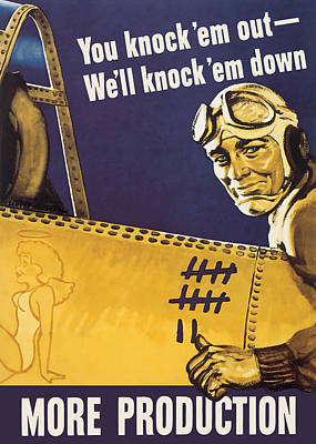 Painting - We'll Knock 'em Down - Ww2 Propaganda by War Is Hell Store