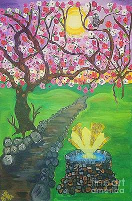 The Sakura Painting - Well Of Wishes by Stephanie Temple