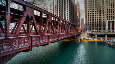 Well Street Bridge, Chicago Art Print