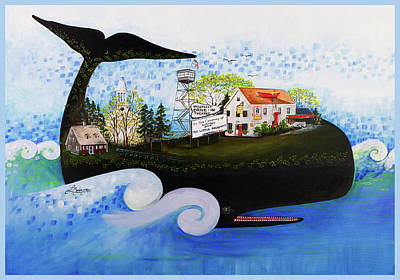 Cape Cod Painting - Wellfleet - A Whale Of A Town by Theresa LaBrecque