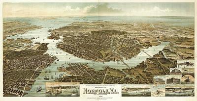 Birdseye Map Painting - Wellge's Norfolk Virginia Birdseye Map  by Celestial Images