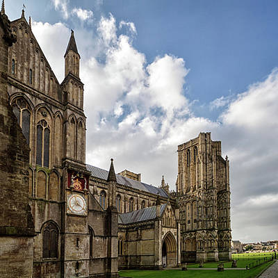 Photograph - Wells Cathedral And Clock by Shirley Mitchell