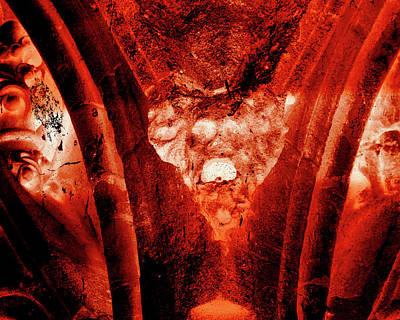Photograph - Wells Cathedral Gargoyles Color Negative A by Jacek Wojnarowski