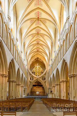 Photograph - Wells Cathedral Nave by Colin Rayner