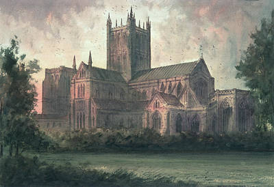 Village Scene Painting - Wells Cathedral by Paul Braddon