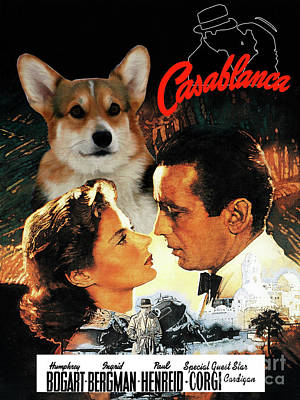Painting - Welsh Corgi Cardigan Art Canvas Print - Casablanca Movie Poster by Sandra Sij