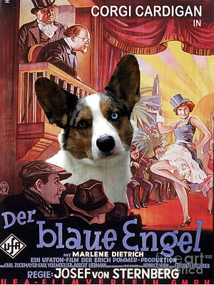 Painting - Welsh Corgi Cardigan Art Canvas Print - Der Blaue Engel Movie Poster by Sandra Sij