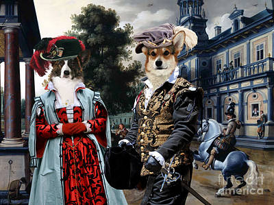 Painting - Welsh Corgi Cardigan Canvas Print -figures In A Palace Garden by Sandra Sij