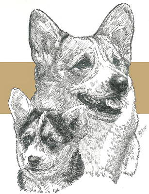 Herding Dog Mixed Media - Welsh Corgi Father And Son by Barbara Keith