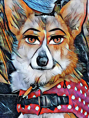 Digital Art - Welsh Corgi Portrait by Kathy Kelly