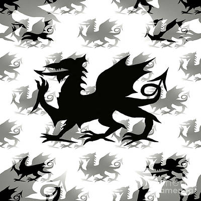 Digital Art - Welsh Dragon Black by Barbara Moignard