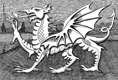Dave Drawing - Welsh Dragon by Dave Edwards